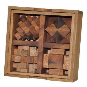 תיבת 5 פאזלים - משחקי חשיבה מעץ